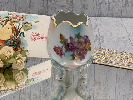 Vintage Porcelain Egg Planter floral handpainted gold accent, Collectible Easter Egg vase, Vintage Easter Decor, Easter Egg