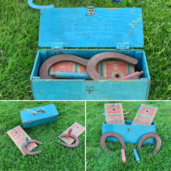 Old Horseshoes game Childs horseshoe game set in wooden box  Vintage lawn game Rustic Home Decor, Rustic Cabin