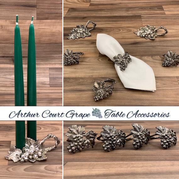 Vintage Grape Table accessories Arthur Court Figural Grape Cluster napkin rings  Candlesticks Vineyard Table decor