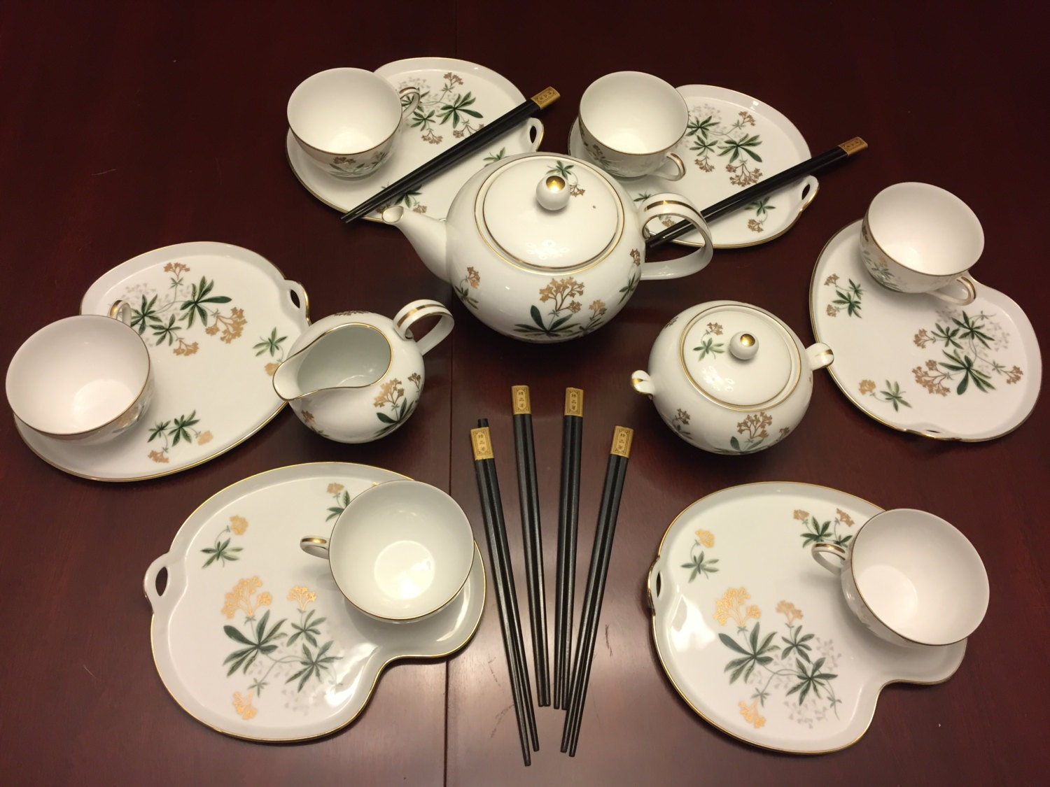 Noritake Tea Set, Asian Bamboo Noritake 5455, Mid Century