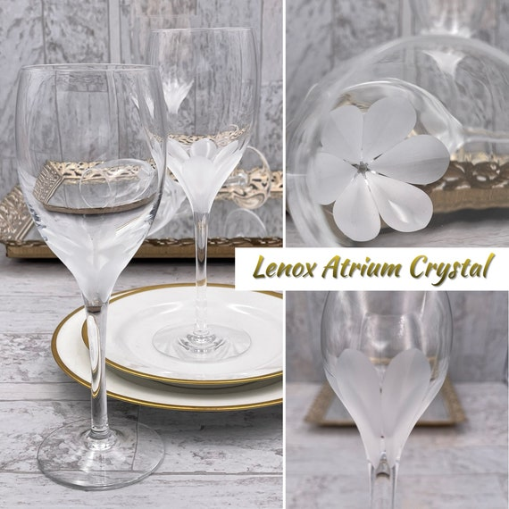 Lenox Atrium Crystal Glasses, Set of 2 Wine glasses, Vintage Drinkware, Luxury Glassware