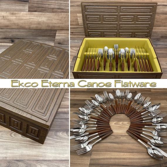 Ekco Eterna Canoe Flatware set, Danish Modern stainless silverware, Faux Rosewood handle, silverware chest