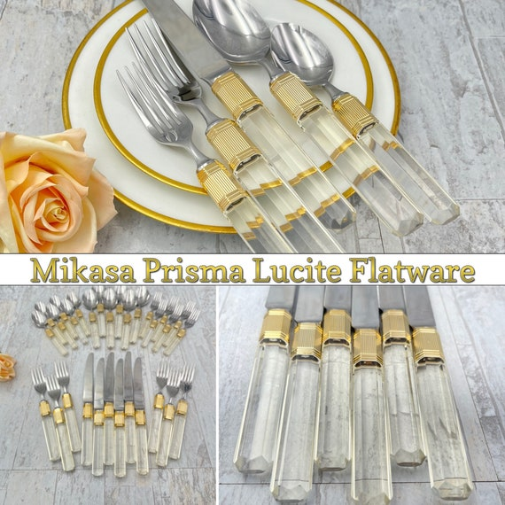 Designer LUCITE Prisma Flatware set, complete Service for 6, Silverware by Mikasa Excellent Condition, Glam LUX Hollywood