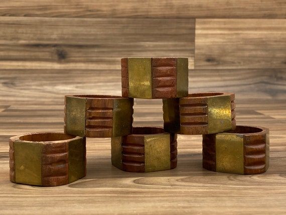 Rustic Napkin Rings, Brass and Wood 6 piece set, Rustic home decor, cloth napkin holders, Bohemian Decor