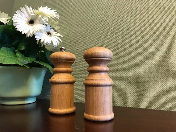 Vintage Salt Pepper Shakers, Pepper grinder, solid Wood salt and pepper set, Turned wood salt and pepper set, hostess gift, Foodie Gift