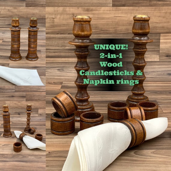 Vintage Wood Candlesticks with matching Wood Napkins rings, Rustic Home Decor