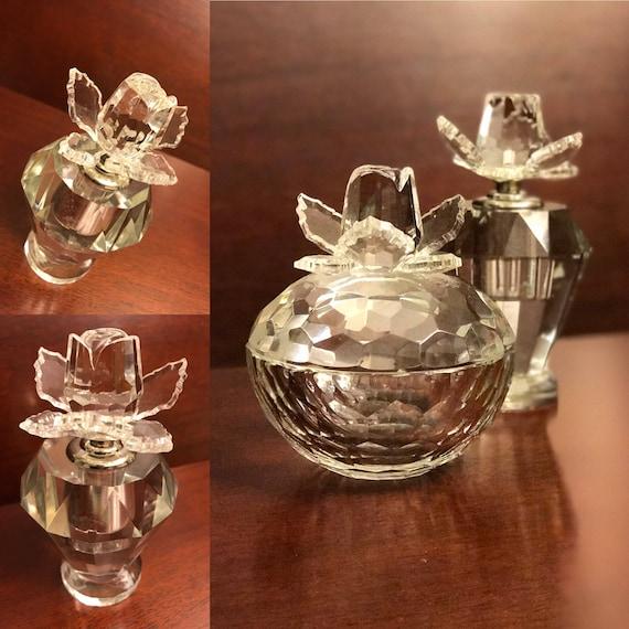 Crystal Rose Vanity set, Vintage Crystal perfume bottle jewelry box, Crystal Wedding set, cut crystal roses, gift for her