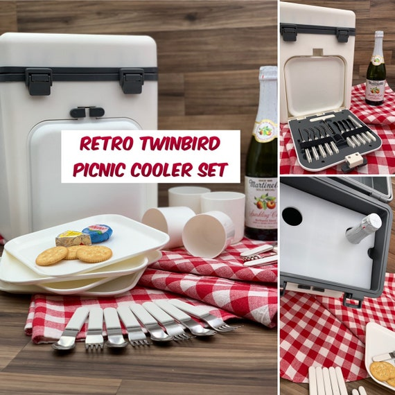 Retro Picnic Cooler, TwinBird Picnic Dish set in a Picnic cooler, Glamping Camping, Vintage Trailer, Tailgating, Boating