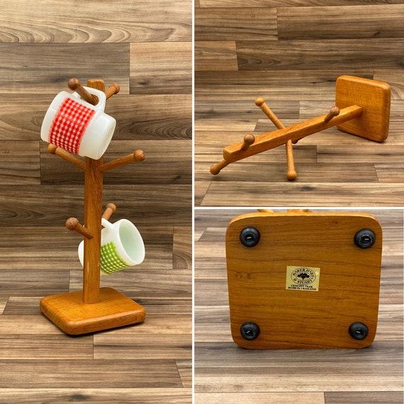 Rustic mug holder, Teak Wood Mug Tree, Baker Hart Stuart Cup Hanger, kitchen organization