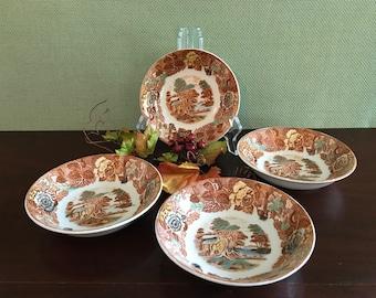 Vintage Transferware China Dessert Sauce Fruit bowls Nasco Mountain woodland China, 4 small bowls
