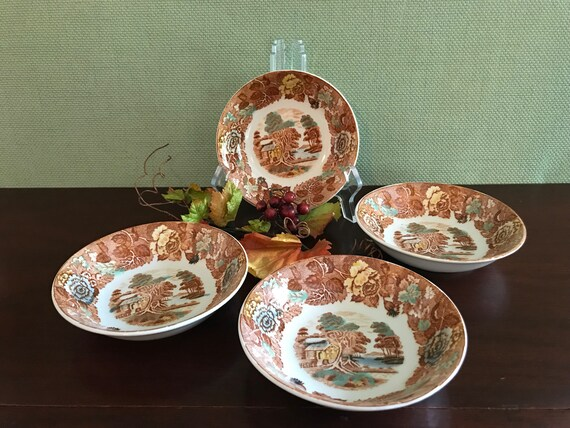 Vintage Transferware China Dessert Sauce Fruit bowls Nasco Mountain woodland China, 4 small bowls