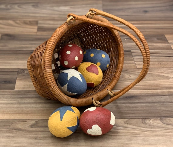 Rustic Farmhouse Basket with painted Paper Mache Eggs