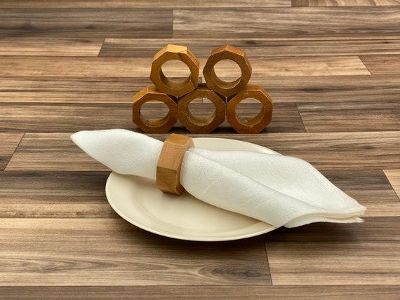 Rustic Wood Napkin Rings, 6 piece set, Octagon Napkin Ring, Rustic home decor, cloth napkin rings, Bohemian Decor