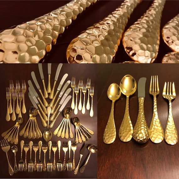 Rare Towle Gold Flatware Set, Gold Plated Supreme Cutlery Flatware, complete service for 12 Hostess set, Brilliant Hammered Gold Silverware