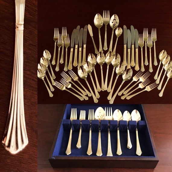 Gold Flatware, complete 45 piece service for 8 with serving pieces, elegant Fan pattern, Flatware Set, Wooden Flatware Box, wedding, gift