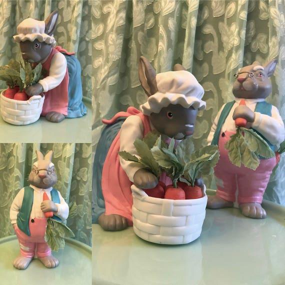 Bunny Figurines, Grandpa and Grandma Bunny, Pa and Ma Bunny couple, Dept 56 Bunny figurines, Bunny couple, Gardening, Grandparents gift