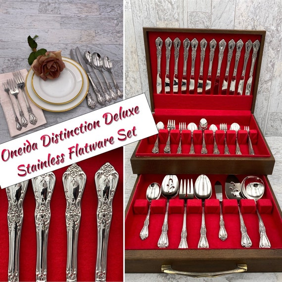 Oneida Vintage flatware Set, Kennett Square Distinction Deluxe Stainless, service for 12, Silverware Chest