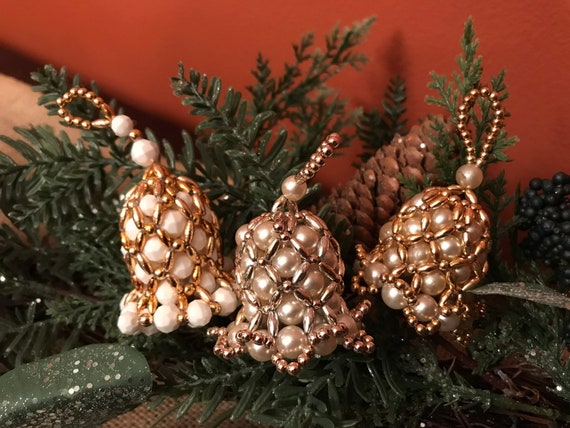 Vintage Bell Shaped Beaded Ornaments, Handmade Christmas Ornament,