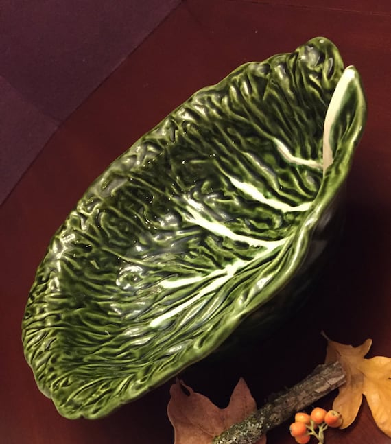 Vintage Cabbage Pottery Bowl, Mid Century Pottery Bowl