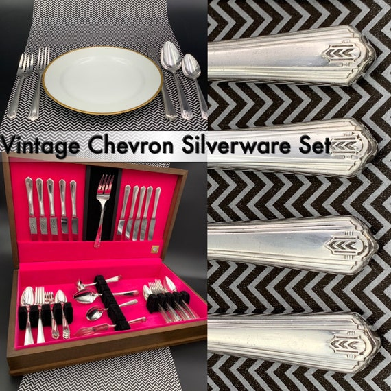 Vintage Rogers Chevron Silverware Set with Silverware chest Large Service for 10 with Serving set Art Deco Flatware set