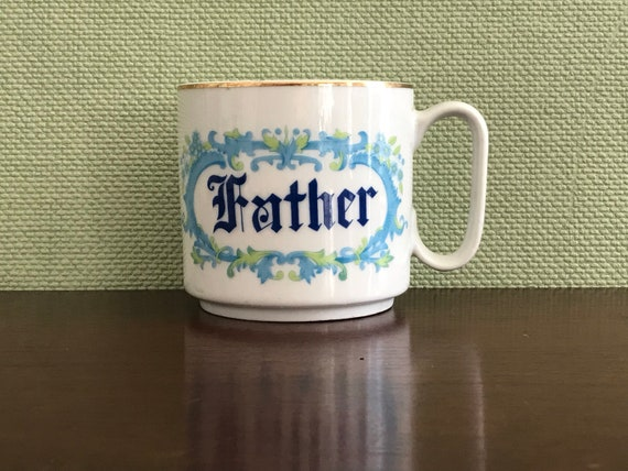 Vintage Coffee Cup, porcelain mug, Fathers coffee Cup, Large Coffee Cup, China Mug, Gift for Dad, blue Mug for Dad, gift for him, unique mug
