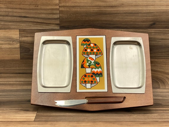 Retro Wood Tray Cheese board with Stainless inserts, Mushroom tile Cutting board, Party Serving, Vintage Serving Tray