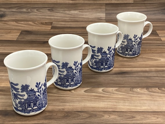 Vintage Blue Willow Mugs, Johnson Bros Earthenware Blue and white coffee cups, Set of 4, Gift for her, Cottage Style
