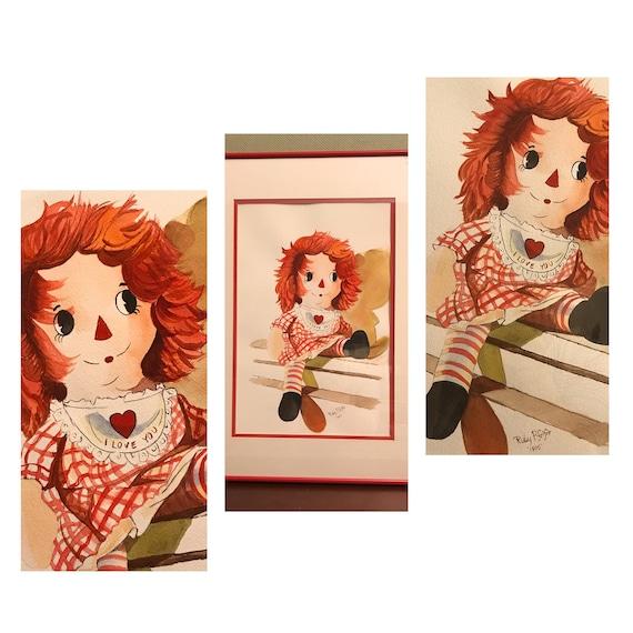 Raggedy Ann Picture, Vintage Raggedy Ann Painting, Watercolor of Raggedy Ann, Signed Watercolor Painting, Framed Wall Art, Children's room