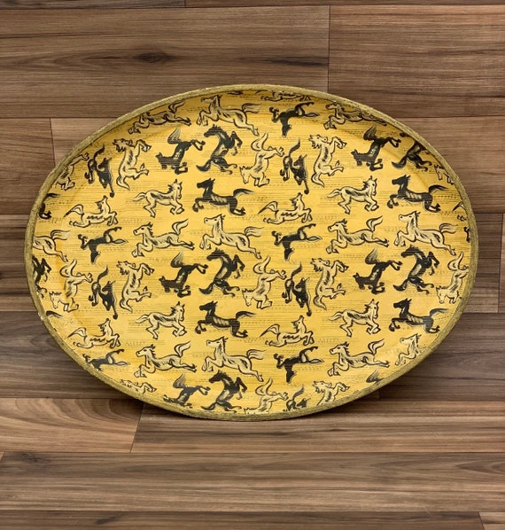 Vintage Serving Tray Painted Horses paper mache Tray Rustic Western Decor