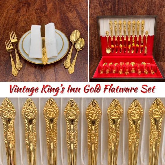 Gold Flatware set with silverware chest, service for 8 with serving pieces, elegant gold plated Silverware Set Wedding gift