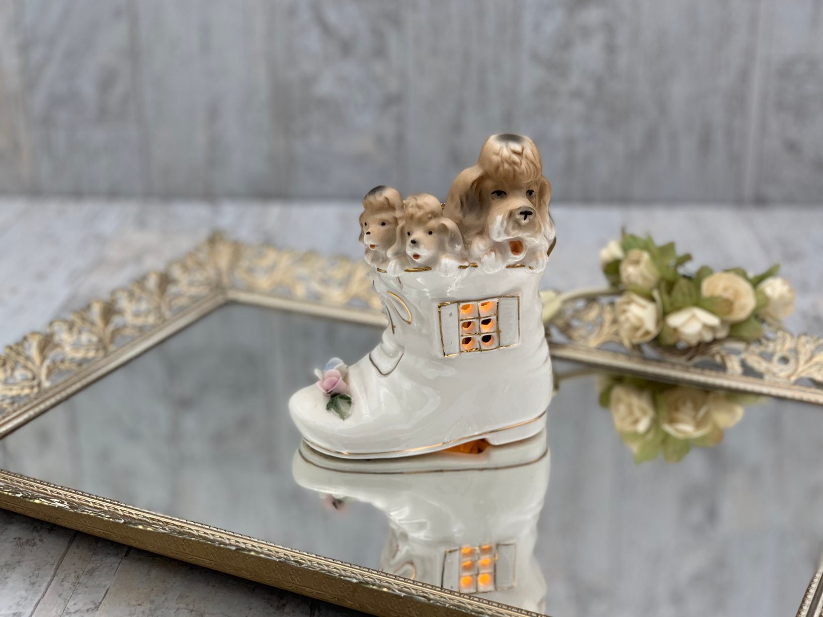 Vintage Puppy Nightlight by I W Rice Company, little Victorian
