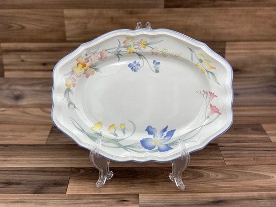 Vintage Serving Platter Floral Villeroy and Boch Riviera Porcelain Oval Serving Tray Gift for Her