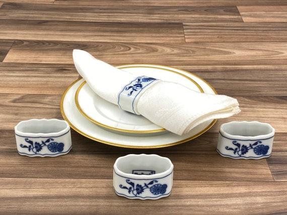 Blue Danube Porcelain Napkin Rings, Set of 4, Vintage Tableware