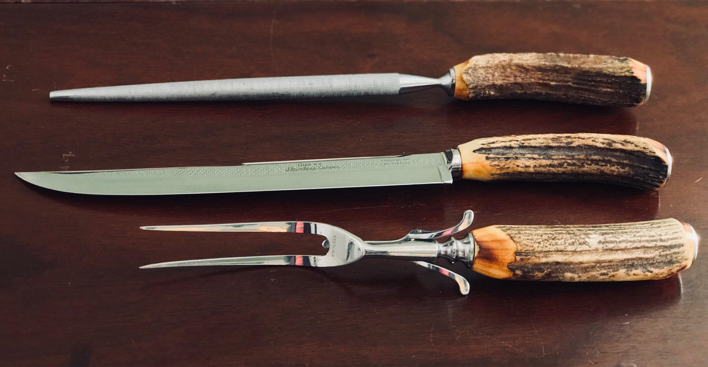 Vintage Meat Carving Set Case Collectible Knife Set