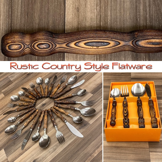 Country style Flatware set Retro Burned Wood Handle silverware Rustic Cabin Decor, Vintage Trailer Glamping Camping