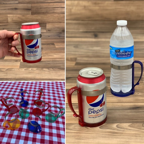 Vintage drink holder, colored Plastic and Metal Can cozy, Outdoor Entertaining, Vintage Trailer Camping Glamping
