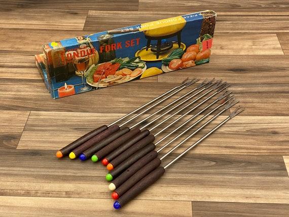 Vintage Fondue Forks Teakwood Danish Modern, Set of 10 fondue forks, Fondue Party forks, color dots