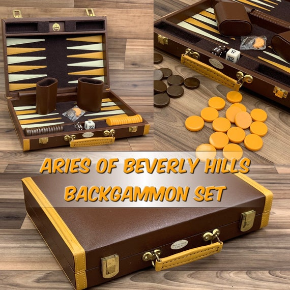 Vintage Backgammon Game, Aries Travel size Backgammon set, Backgammon game in carrying case, Collectible Backgammon Set, gift, Board