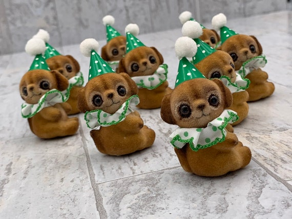 Vintage Flocked Porcelain Puppies, Puppies in Party Hats, Party puppy dog favors, Puppy in party hats, St Patricks Day decorations