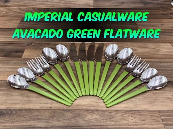 Vintage Stainless Flatware set with Avacado Green Handles, Rustic Cabin Vintage Trailer Camping Glamping