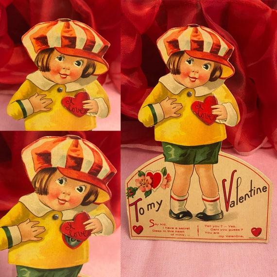 Vintage Valentine Card, chubby cheek little Girl Valentine, stand up Valentine, mechanical Valentine, Die cut card, 1940s Paper ephemera