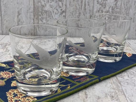 Vintage Duck Crystal Glasses, Waterfowl Collectible, set of 3