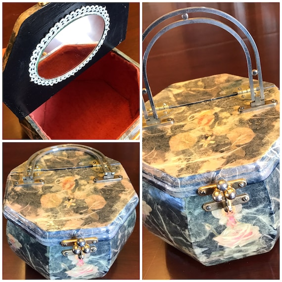 Vintage Box Purse, Fairy Flower Box Purse, Découpaged Wood Purse, 1970s Granny Chic, Handmade purse