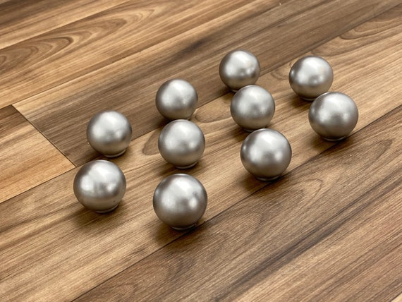 Cabinet Knobs Drawer Pulls, Set of 10 Silver finish Metal, Reclaimed Hardware, Knobs for crafts