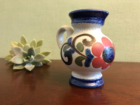 Ceramic Pitcher Blue salt glaze Folk Art ceramics, Mid Century German jug, Tiny Pitcher with flower design Cream pitcher