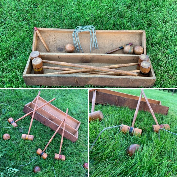 Old Croquet game Childs Croquet set Turned wood mallets and balls Vintage lawn game Rustic Home Decor, Rustic Cabin
