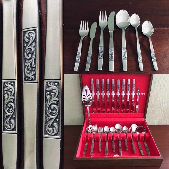 Vintage flatware set, Salem Elegance Stainless Silverware in chest, Service for 8, serving set