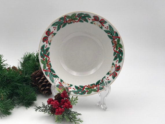 Vintage Christmas China Serving bowl One Royal Majestic Holiday Cheer pattern Gold trim, Buffet Serving bowl Holiday Dinner