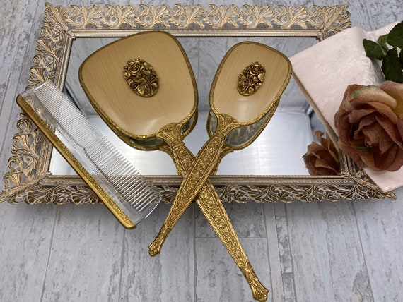 Vintage Gold Vantity Set 24ct Gold plated dresser set, Hand mirror hairbrush set, Hollywood Regency, gift for her