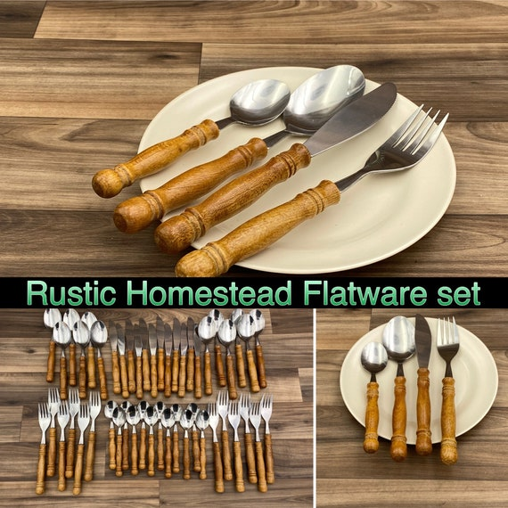 Vintage Wood Handled Flatware set, service for 12, Colonial Style Homestead Silverware, Rustic Home Decor, Cabin Lodge, Gift